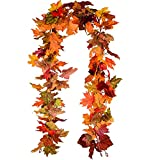 Lvydec 2 Pack Fall Maple Garland - 5.9ft/Piece Artificial Fall Foliage...
