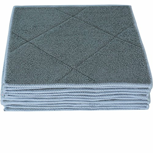 Gryeer 10er-Set Bambus und Mikrofaser-Spültücher mit Schwamm Pad, weich und super saugfähige Küchen Reinigungstücher, 20x25cm, Grau