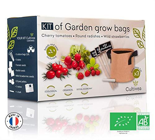 Cultivea – Kit de sacs de culture – Prêt à Pousser – Graines Françaises 100% Écologiques et Bio – Jardin potager – Fruits et Légumes (Tomate, Fraise et Radis) - Idée Cadeau -