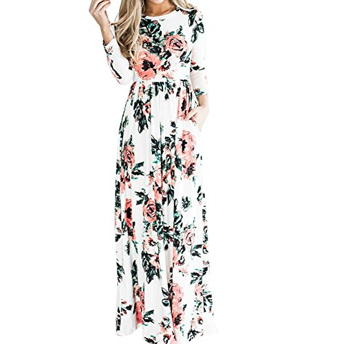 Lover-Beauty Damen Blumen Maxikleid Bohemien Lang Kleider Boho Sommerkleid Strandkleid Party, Weiß, S