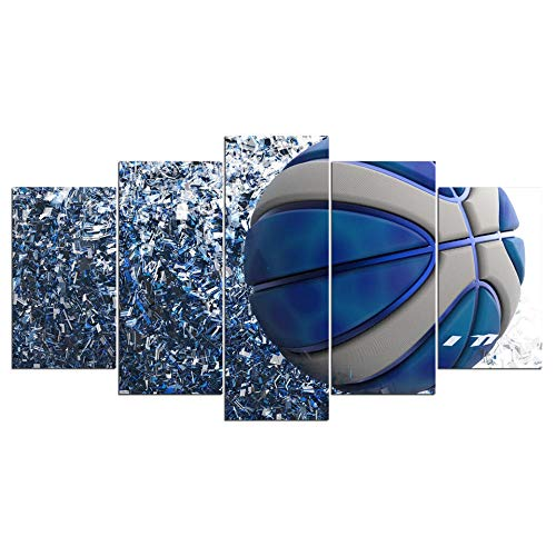 GZSBYJSWZ Lienzo decorativo para pared, 5 piezas, diseño de balón de fútbol azul metálico, para sala de estar