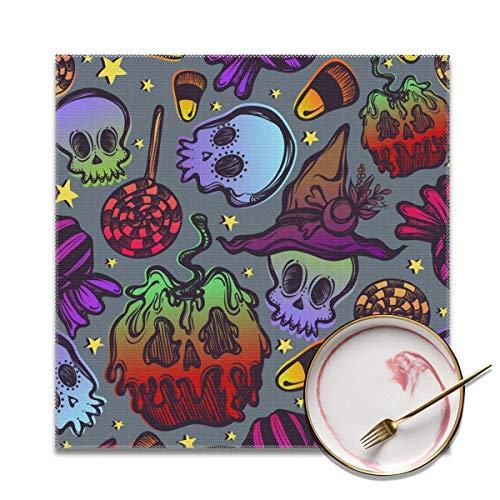 Houity Halloween Schedel Vergiftiging Appels en snoepjes Wasbaar Zacht Voor Keuken Diner Tafelmat, Gemakkelijk te reinigen Handige Opvouwbare Opslag Placemat 12x12 Inch Set Van 4