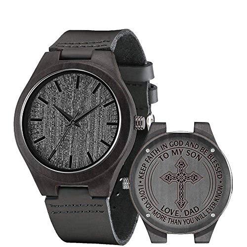LYMUP Reloj de madera grabado reloj de madera para hombres, regalo de novio o padrino, sándalo negro, reloj de madera personalizable, regalo de cumpleaños, vapor (color a hijo de papá)