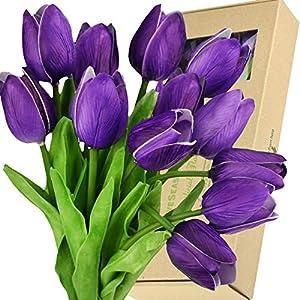 Silk Flower Arrangements FiveSeasonStuff Tulips Artificial Flowers | Real Touch | Wedding Bouquet Home Décor Party | Floral Arrangements | 15 Stems (Sweet Plum Purple)