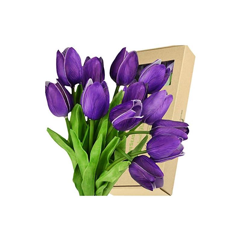silk flower arrangements fiveseasonstuff tulips artificial flowers   real touch   wedding bouquet home décor party   floral arrangements   15 stems (sweet plum purple)
