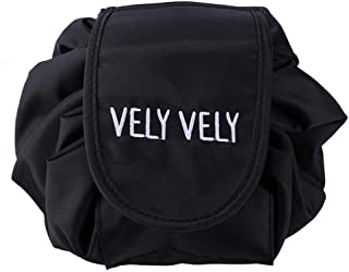 حقيبة مكياج ومستحضرات تجميل محمولة مع رباط تعديل محمولة متعددة الوظائف مقاومة للماء لون اسود