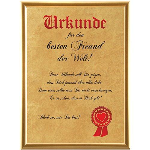 Urkunde für den besten Freund der Welt … (Elefantenhautpapier + Bilderrahmen)