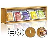KrockaZone - Caja organizadora para bolsas de té con 5 compartimentos extensibles de vidrio acrílico transparente/dispensador de bolsas de té de bambú auténtico.