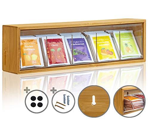 KrockaZone - Caja organizadora para bolsas de té con 5 compartimentos extensibles de vidrio acrílico transparente/dispensador de bolsas de té de bambú auténtico