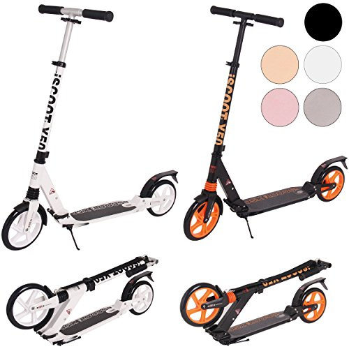 iScoot Ultimate X50 Jet Black Adult City Push Kick Scooter with Large 200MM...