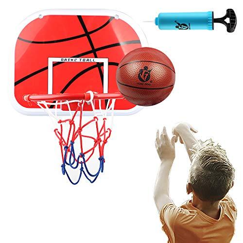 DBREAKS Basketballkorb fürs Zimmer, Enthält 1 Mini Basketball Korb, 1 Ball, 1 Bälle Pump, Backboard zum an die Tür hängen für Kinder Junge Mädchen ab 6 7 8 Jahre Alt