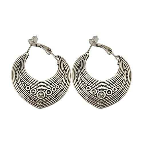 Yazilind mujeres bohemio étnico gota cuelga los pendientes del aro de la vendimia joyería grabada Stud pendientes declaración retro antiguo de plata