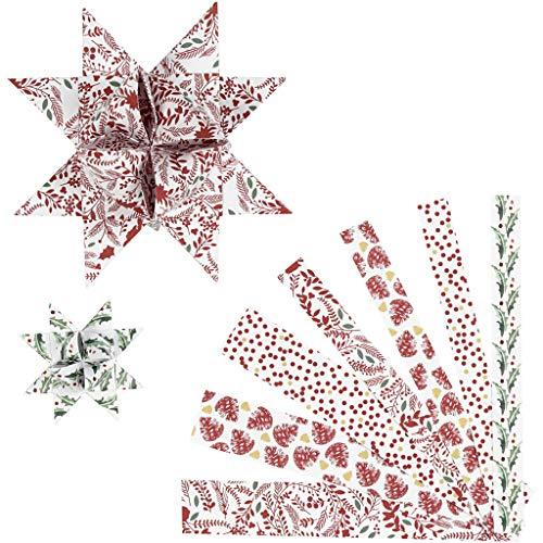 Paper Star Strips, W: 15+25 mm, D: 6,5+11,5 cm, weiß, rot, metallische Folie, 48 Stück