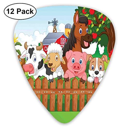 Cartoon Zusammensetzung Nette Nutztiere auf Zaun Comic Maskottchen mit Hund Kuh Pferd Kinder Design Multicolor (12er Pack)