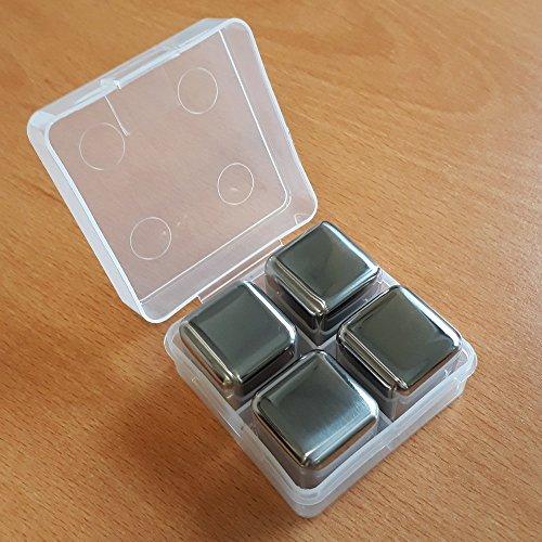 Sterngraf 4 Kühlsteine MIT Gravur (Wunschtext, z.B. Namen) Wiederverwendbare Edelstahl-Eiswürfel von vacu vin ** Whisky-Steine Ice Cubes Set - 5