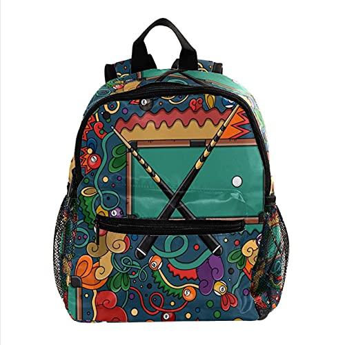 ColorMu Mini Rucksack Laptoptasche für Damen Reisetasche Billardtisch und Snooker für Arbeit, Schule, Outdoor