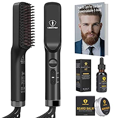 Ceenwes 3 in 1 Professional Beard Straightener with Beard Oil Beard Balm Portable Hair Straightener Brush Perfect Men gifts for Hair Styling Men's Beard Straightening Comb Gift for Men & Women