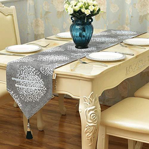 HUIYAN Tischläufer tischdecken Blumenquaste Tischläufer   Für Esszimmer Multi Size Kommode Runner Sideboard Hochzeit Festival Home Decor Geschenk (Color : Black Tassel, Size : 32X210cm)