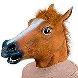 Bingsale Pferdemaske für Halloween Maske latex Tiermaske Pferdekopf Pferd Kostüm (Braun)