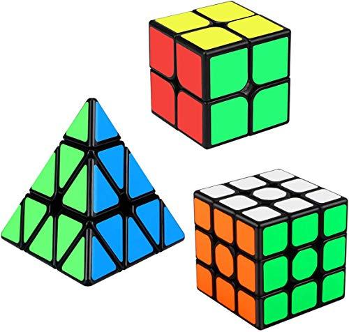 Aiduy Speed Cube Set, Cubo Triángulo Piramide 3x3 2x2 Cubo Mágico Puzzle, 3 Piezas