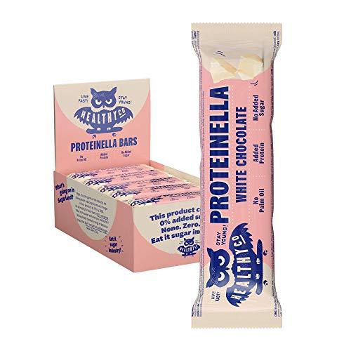 HealthyCo – Proteinella Barretta di Cioccolato Bianco 20x35g – Uno snack più sano, ricco di proteine senza zuccheri aggiunti o olio di palma - Una barretta proteica più salutare