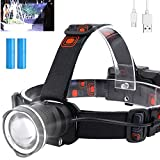 Rechargeable LED Headlamp for Adults, 10000 Lumens Super Bright Headlamp with Battery & USB Cable - 4 Modes Waterproof Lightweight Headlamps Flashlight for Hunting Fishing