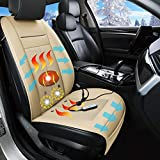 Fochutech Warm Car Seat Cushion with Vibrating Massage Cooling Car Seat Cover for Front Driver and Passenger Seat Winter Automotive Seat Cushion Pad for Cold Weather Leather Seat Protector (Beige)