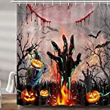 Halloween Holiday Shower Curtains for Bathroom, Scarecrow Zombie Pumpkin Moon Fabric Shower Curtain Set, Scary Fall Autumn Thanksgiving Day Bathroom Accessories Decor, Hooks Included (69W X 72H)