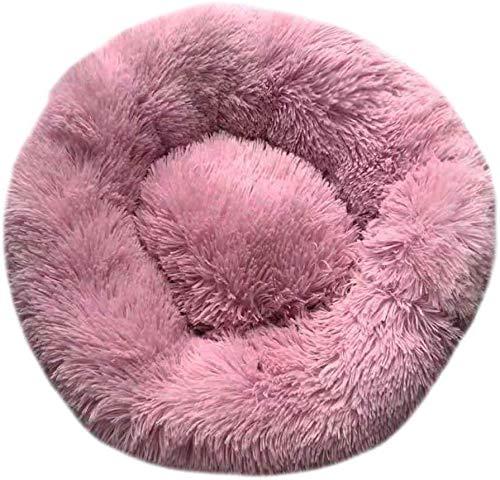 NOOYC Katzensofa Shag Plüsch, Donut Kissen wasserdichte Unterseite Katzen Bett Haustierbett FüR Gelenkentlastung Und Besseren Schlaf,Pink_100CM