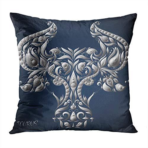 Qryipd Throw Pillow Cover Taurus Astrology Zodiac Sign Zodiac Comfortable Print Living Room Car Sofa Bedroom Polyester Hidden Zipper Pillowcase 18x18 Inch