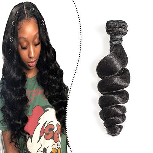 Ugeat Remy Echthaar Tressen Weave on Human Hair Extensions 100G 65cm Naturliches Schwarz Haarverlangerung Weaving Sew in Bundles Loose Wave