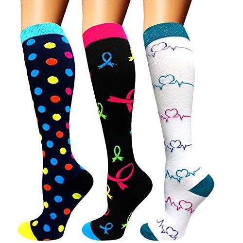 Calcetines de compresión para mujeres y hombres: los mejores calcetines médicos, para correr, enfermería, circulación y recuperación, senderismo, viajes y vuelo, 20-25 mmHg A2-multicolor-3 pairs L XL