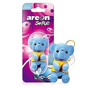 AREON Smile Ambientador Coche Olor Nuevo New Car Aire Divertido Mini Decorativo Colgar Colgante Retrovisor Azul Elefante Moderno Muñeco Grasioso Original Perfume 3D Casa Oficina (Pack de 1)