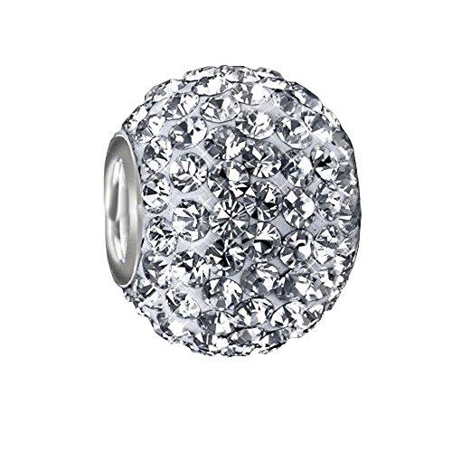 MATERIA XXL Silber Beads weiß Strass 12x16mm - 925 Silber Beads Kristall Kettenanhänger Kugel weiß #1098