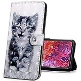 MRSTER Honor 7X Handytasche, Leder Schutzhülle Brieftasche Hülle Flip Hülle 3D Muster Cover mit Kartenfach Magnet Tasche Handyhüllen für Huawei Honor 7X. BX 3D - Smiley Cat