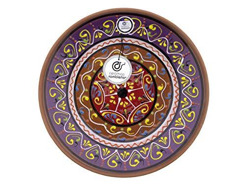 CERÁMICA RAMBLEÑA | Plato Decorativo para Colgar en Pared | Plato de cerámica | Plato decoración Mediterránea Modelo D19 | 100% Hecho a Mano | 35x35x6 cm