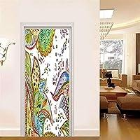 ZWYCEX ドアステッカー ドアステッカーホームインテリアPVC壁画論文アブストラクトのポスターは、ベッドルームのためにアートピクチャー自己接着防水の壁紙を印刷リニュー (Sticker Size : 95x215cm)
