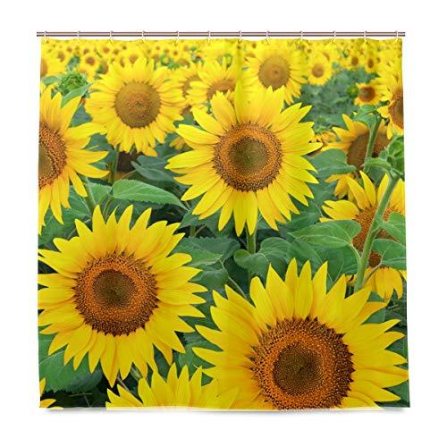 BIGJOKE Duschvorhang, Blumenmuster, Sonnenblumen-Muster, schimmelresistent, wasserdicht, Polyester, 12 Haken, 183 x 183 cm, Heimdekoration