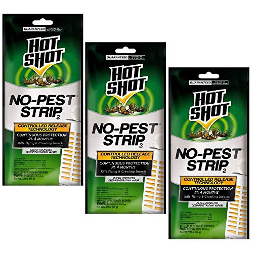 Hot Shot No-Pest Strip 2, Controlled Release Technology Kills Flying and Crawling Insects 2.29 Ounce (Value Pack of 3)