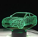 QiXian Nachtlicht Wandleuchte Led Lampe Auto Auto Form 3D Lampe 5 v USB 3Aaa Batterie Led Nachtlampe Acryl Kinder Lava Lampe 7 Farben Touch Tischleuchte Schnell für Küche Schlafzimmer...