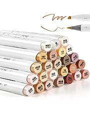24 Skin-Tone Kleuren Alcohol Markers, Ohuhu Borstel & Beitel, Sketch Art Marker, Op alcohol gebaseerde Brush Markers voor kinderen en volwassenen Coloring, Illustratie, Mid-Tone Skin Tone en Hair Shades Marker Set