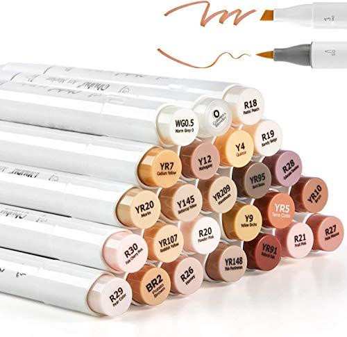 Ohuhu Marker 24 Set Pelle pennarelli alcolici a Colori, Pennello e scalpello Pennarello a Base di Alcool per Schizzi d'Arte, per Colorazione tonalità della Pelle di Tono Medio e per Capelli
