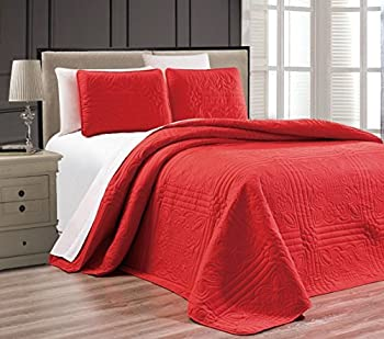 3-Piece RED Oversize Stella Grande Bedspread Queen/Full Embossed Coverlet Set 106 by 100-Inch