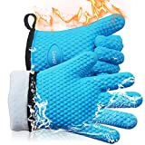 Loveuing Kitchen Oven Gloves - Silicone and Cotton Double-Layer Heat Resistant Oven Mitts/BBQ...