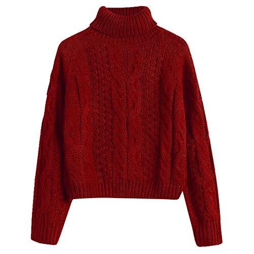 GUORUIMIN Trui Voor Vrouwen, Rode Wijn Warm Coltrui Kabel Gebreide Cropped Trui Voor Vrouwen Fitting Raglan Mouw Effen Kleur Regelmatige Mode Truien