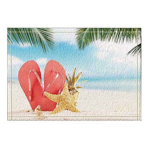 Alfombrillas de baño de franela para la playa,chanclas,zapatos,sandía roja y estrella de mar,piña en la arena de la playa,entradas de piso antideslizantes y absorbentes,exterior,interior,frente