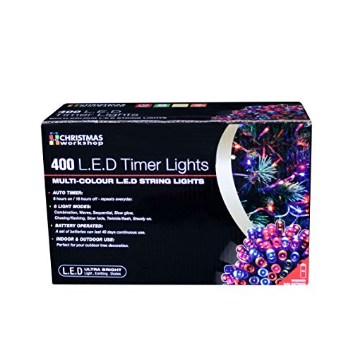 The Christmas Workshop - 400 luci Natalizie a LED, Funzionamento a Batteria con Timer, Multicolore