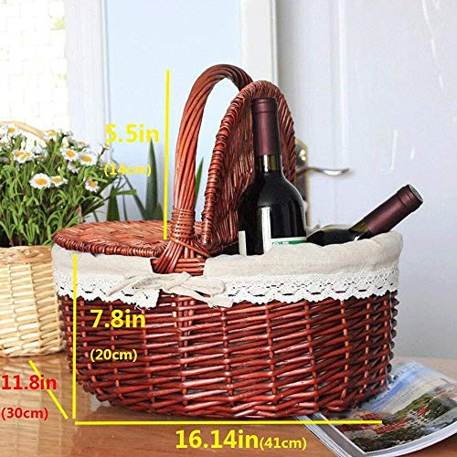 Home Living Museum/Fruit Basket immagazzinaggio del Rattan Basket Jinliu casa Cesto di bambù Carrello Portatile Basket Garden Picnic Basket Basket