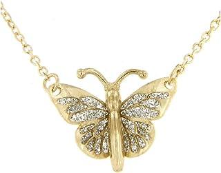 forme di Lucchetta per Donna - Collana in Vero Oro Giallo con Farfalla Blu o Glitter o Ambra - 45cm - Made in Italy Certif...