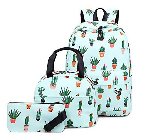 Acmebon Mochila Escolar para Niñas Adolescentes con Bolsa de Almuerzo y Estuche Cartera para Niños Cactus